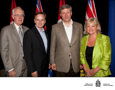 Capilan University President and Vice Chancellor Dr. Greg Lee (at left) with North Van MP Andrew Saxton, Prime Miinister Stephen Harper and North Van-Seymour MLA Jane Thornthwaite at an August 5 funding announcement in Victoria.